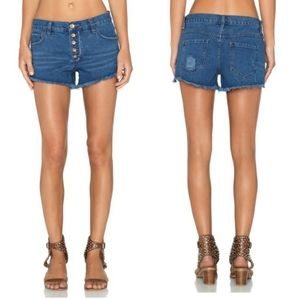 Free People Button Fly Cut-Off Denim Jean Shorts